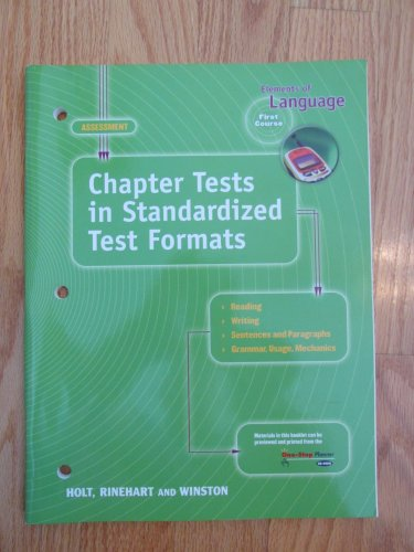 ELEMENTS OF LANGUAGE: FIRST COURSE 7th GRADE CHAPTER TESTS HOLT ISBN # 0-03-056387-9 NEW 2000