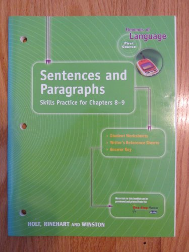 ELEMENTS OF LANGUAGE: FIRST COURSE 7th GRADE SENTENCES HOLT ISBN # 0-03-056316-X NEW 2000