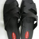 OKABASHI WOMEN'S SIZE M / L SHOES BLACK SANDALS SLIP ON FLATS BREATHABLE SLIDES CROSS STRAP NWT