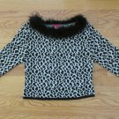 JORDACHE GIRL'S SIZE 14 / 16 SWEATER IVORY & BLACK LEOPARD BOA TOP ELBOW SLEEVES NWT