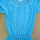 NEWPORT NEWS WOMEN'S SIZE 12 TOP AQUA SHEER CHIFFON & LACE TUNIC LONG SLEEVE