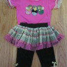 LITTLE LASS GIRL'S SIZE 18 mo. T-SHIRT, SKIRT, & LEGGINGS PINK, BLACK GOLD 3 PC SET BOUTIQUE SHOES