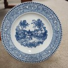 VINTAGE LAUGHLIN SHAKESPEARE COUNTRY PLATE BLUE & WHITE DINNER SCROLL EDGE MOSAIC FOCAL DISH