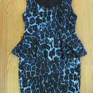 FOREVER 21 WOMEN'S JUNIOR'S SIZE XL DRESS  BLUE AND BLACK LEOPARD ANIMAL CHEETAH PEPLUM PENCIL