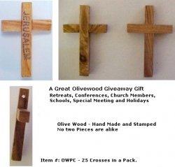 Olivewood Pocket Cross / PK OF 25 Crosses