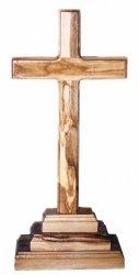 Olive Wood Cross On Pedestal