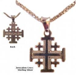 Small silver Jerusalem cross necklace