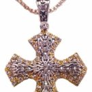 Jerusalem cross gold and silver with cubic zircons