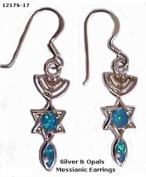 Silver and Opals Messianic Earrings