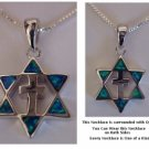 Sterling Silver Star and Cross with 2 Sided Opals