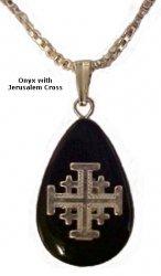 Onyx Necklace With Jerusalem Cross