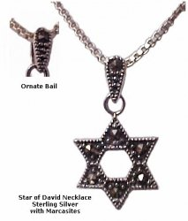 Silver Star of David with Marcasites