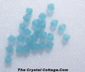 (20) Swarovski 4mm Bicone Crystal Beads ~Caribbean Blue Opal~