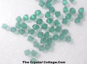 (20) Swarovski 4mm Bicone Crystal Beads~ Emerald~