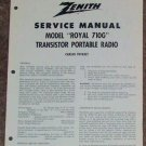 Zenith Service Manual Model Royal 710G Radio Vintage