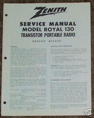 Zenith Service Manual Model Royal 130 Radio Vintage