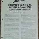 Zenith Service Manual Model Royal 130 Radio Vintage