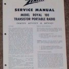 Zenith Service Manual Model Royal 100 Radio Vintage