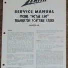 Zenith Service Manual Model Royal 650 Radio Vintage