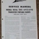 Zenith Service Manual Model Royal 265-645-670 Radio