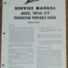 Zenith Service Manual Model Royal 475 Radio Vintage