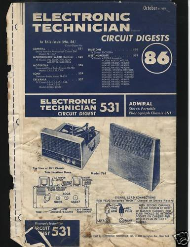 Electronic Circuit Digest Oct.1959 Sony Sylvania True++