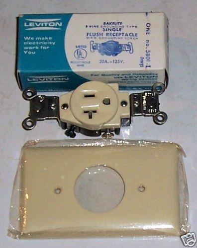Leviton Single Flush Receptacle w/Cover Ivory 20amp 125