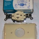 Leviton Single Flush Receptacle w/Cover Ivory 20amp 125
