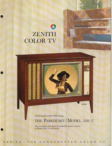 Vintage 1965 Zenith Color TV advertisement Model 5231WU