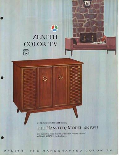 Vintage 1965 Zenith Color TV advertisement Model 5271WU