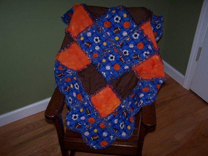 Scalloped Baby Boy Rag Quilt