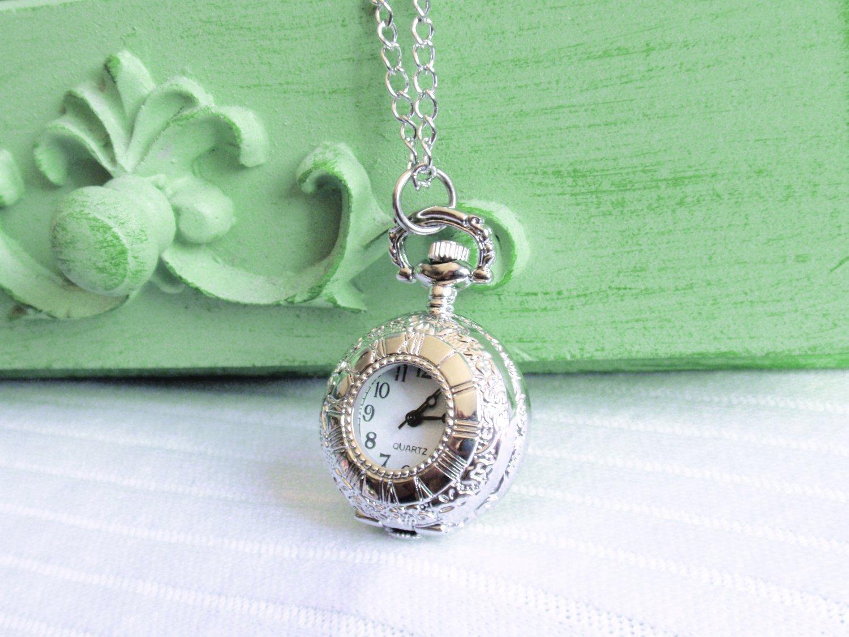 Pocket Watch Necklace - Silver Timepiece