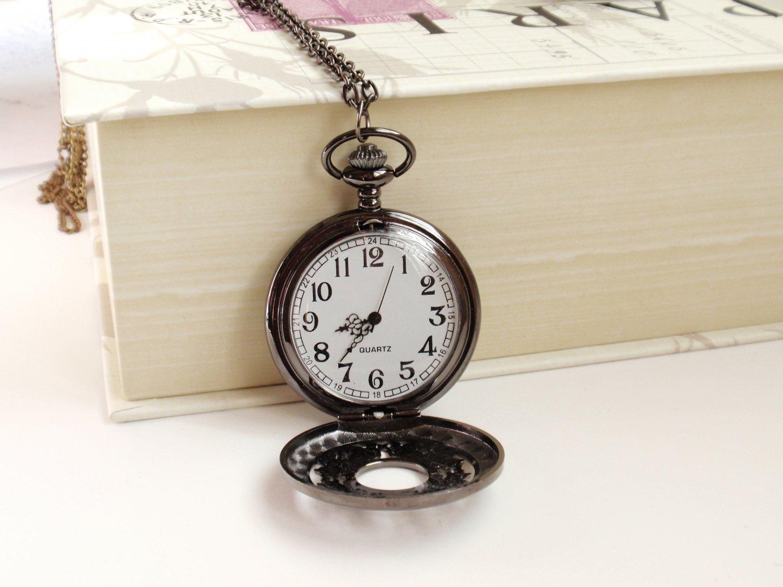 Pocket Watch Necklace - Black, Victorian-Inspired *SALE*