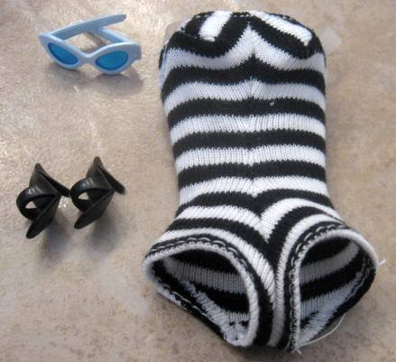 BARBIE #1 Vintage ZEBRA SWIMSUIT, GLASSES + SHOES Repro