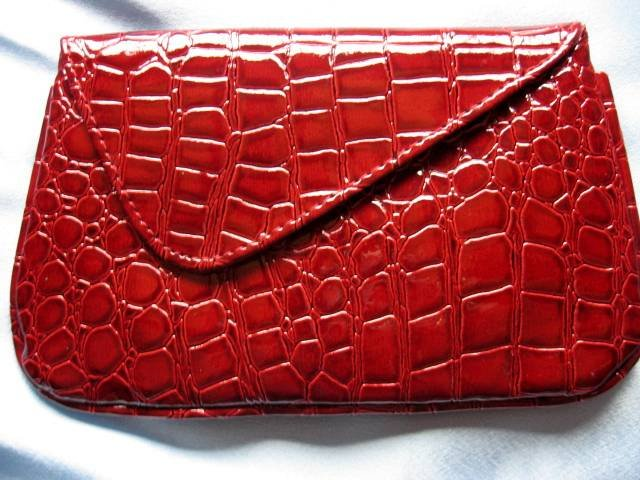 Bare Escentuals Minerals FAUX CROC RUBY Clutch Bag Purse