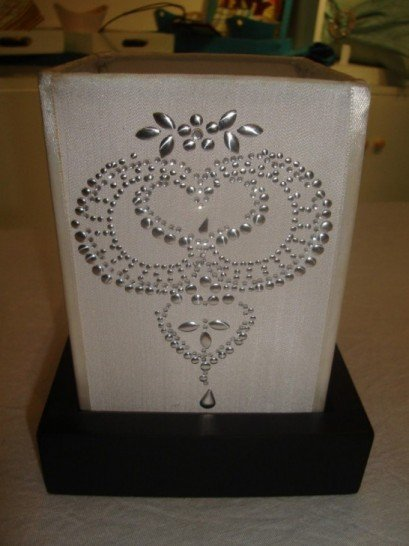 Plain silk lantern with hot fix motif