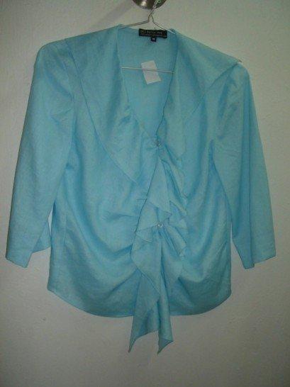 Blue Ruffled linen blouse