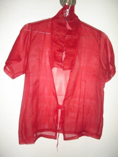 Red pleated