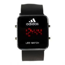 Fashion and Charming Design Red LED Watch (Black)