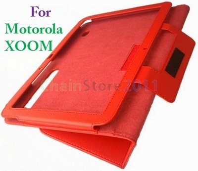 New Designed  Red Leather Case Cover Skin for Motolora XOOM