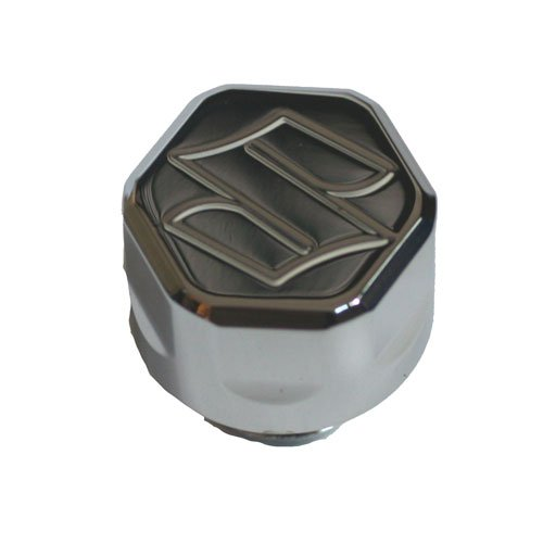 "SUZUKI CHROME OIL CAP WITH ENGRAVED ""S"""