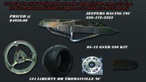 330 Wide Tire Kits with GSXR Replica Wheel & Raw Swing Arm