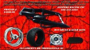 HAYABUSA/GSXR Black Powder Coated 330 Wide Tire Kits with Replica Wheel