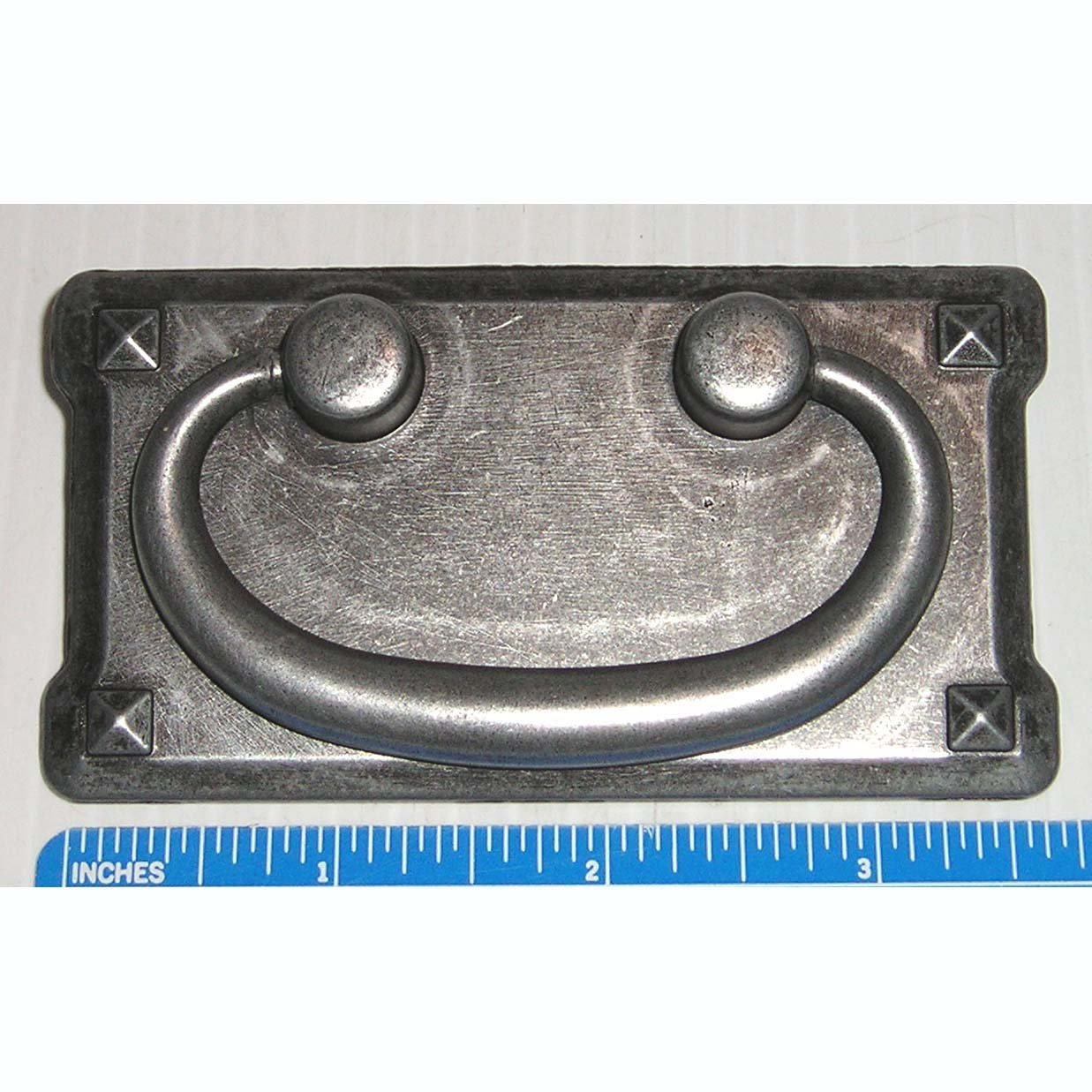 """Bail Drop Pull On Backplate Grey Iron Finsh 3"""" CTC for Cabinet Door / Drawer Handle"""