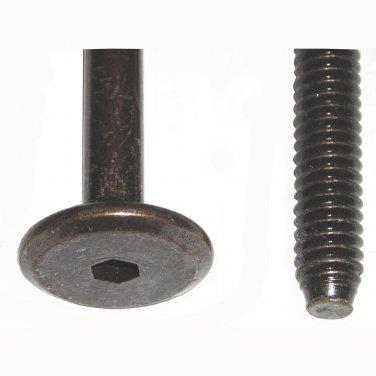 """1/4"""" - 20 TPI x 55mm Dark Bronze Hex Drive Flat Pancake Head Furniture Screw Bolt 2-5/32"""" 5 Pack"""