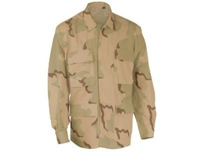 US Military DCU 3 Color Desert Camouflage Jacket Shirt Collar Long Sleeve Hunting Camping Paintball