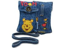 Brand New Embroidered Winnie The Pooh Cell Phone Accessory Camera MP3 iPod Jean Pouch Strap MOBO USA