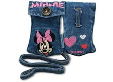 Brand New Embroidered Minnie Mouse Cell Phone Accessories MP3 iPod Jean Pouch with Strap MOBO USA