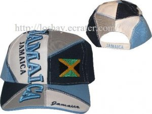 Jamaica Hat with Flag and Adjustable Back Strap