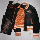 New Women Girl Platinum Plush Fashion Blue Jean Matching Top/Jacket and Bottom Set Orange White